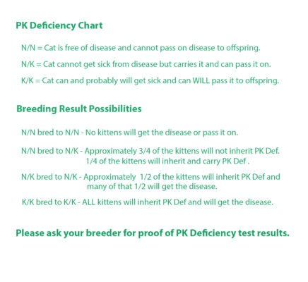 PK Deficiency Chart that shows inheritance of the disease and results of breeding Savannahs with PK Def.